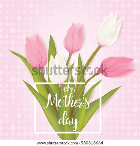 Mothers day greeting card tulip flowers stock vector royalty free mothers day greeting card with tulip flowers with typography greeting message vector illustration m4hsunfo