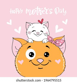 Mothers day greeting card with two beautiful cats mom and baby and the inscription happy mothers day. Vector illustration of cartoon doodle animals
