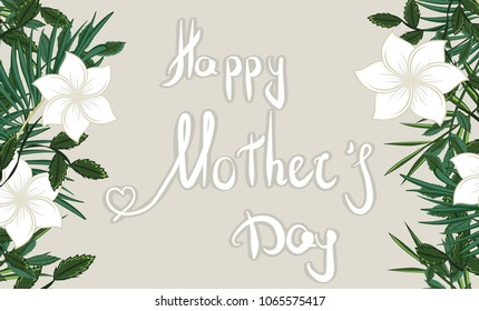 Mother's day greeting card. Vector natural, botanical, elegant template. card design with forest greenery herbs, leaves.happy mother's day on tropical leaves background.  Vector natural, botanical.