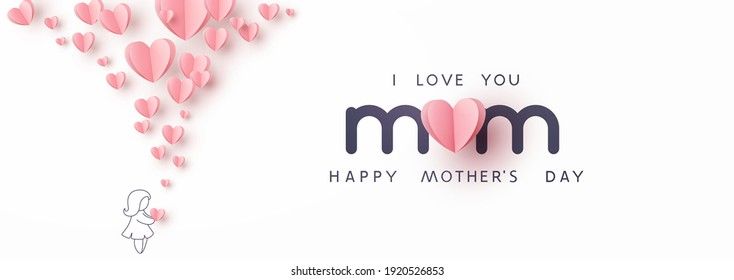 Mother's day greeting card. Vector banner with girl and flying pink paper hearts. Symbols of love on white background - Shutterstock ID 1920526853