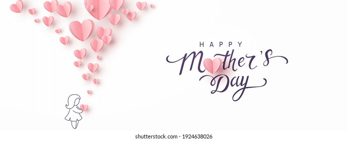 Mother's day greeting card. Vector banner with girl and flying pink paper hearts. Symbols of love on white background - Shutterstock ID 1924638026