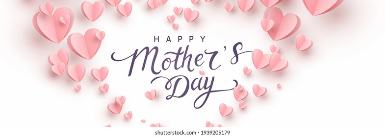 Mother's day greeting card. Vector banner with 3d flying pink paper hearts. Symbols of love and handwriting lettering text on white background