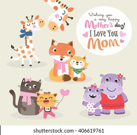 Mother's day greeting card. Vector illustration. Cute little giraffe, fox, cat and hippo with their mother.