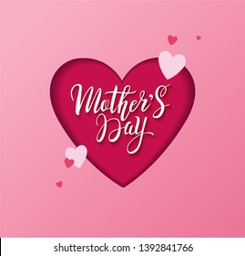 Mother's day greeting design concept with handwritten lettering in cut out heart and little hearts in pink colors. - Vector