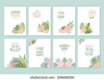 Mother's day.Set of hand drawn cards with hand lettering.Mom you are the best,Super mom,Best mom ever,Happy mother's day.