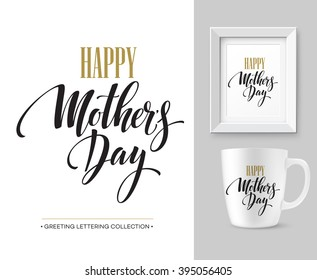 Mothers Day hand lettering collection. Mock-up design template. Vector illustration EPS10