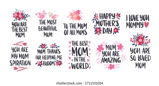 Mother's Day holiday illustration set. I love you mom vector greeting card. Hand drawn lettering design on white background. Best mom, Thanks mom inscription with flower.