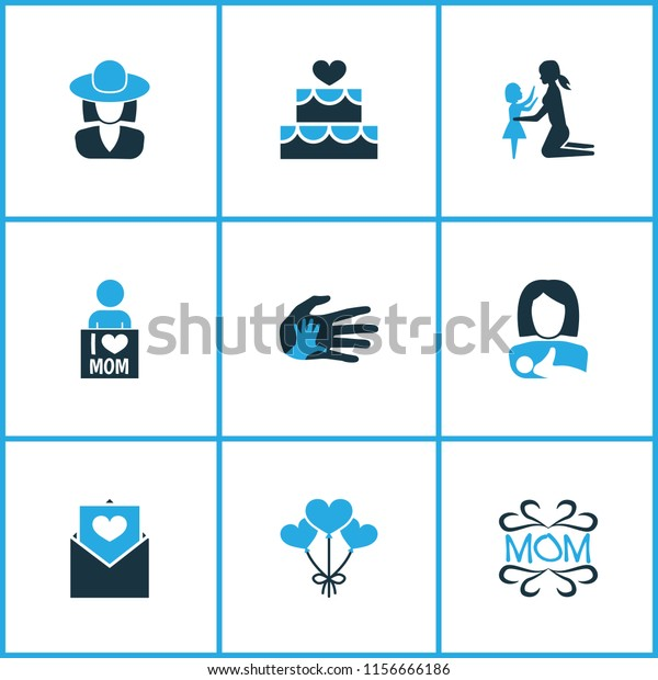 Mothers day icon colored design concept. Set of 9 such elements as i love mom, postcard and decoration. Beautiful symbols for woman, i and girl.