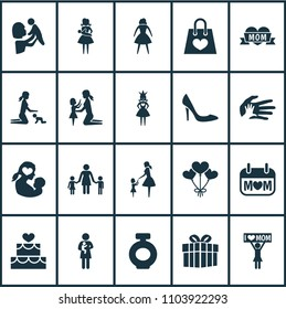 Mothers day icon design concept. Set of 20 such elements as palms, announcement and woman. Beautiful symbols for mother, baby and playing.