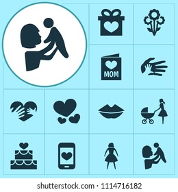Mothers day icon design concept. Set of 12 such elements as lips, loving and woman. Beautiful symbols for heart, love and hand.