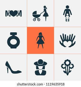 Mothers day icon design concept. Set of 9 such elements as elegant headgear, protect and perfume. Beautiful symbols for woman, baby and mother.
