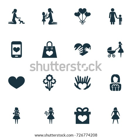 Mothers Day Icon Design Concept Set Stock Vector Royalty Free