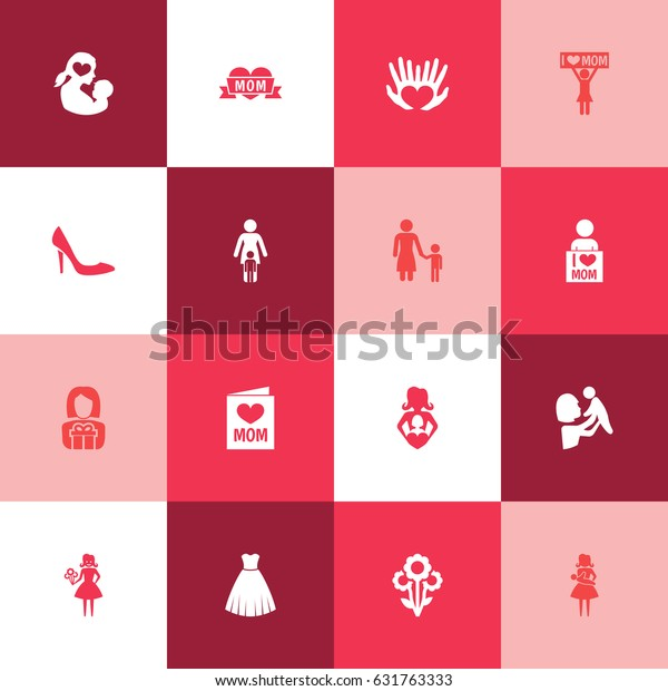 Mothers Day Icon Design Concept. Set Of 16 Such Elements As I Love Mom, Madame And Loving. Beautiful Symbols For Evening, Love And I.