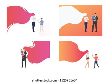 Mothers day illustration set. Son giving flower to mother, special date, copy space. Family concept. Vector illustration for posters, presentations, landing pages
