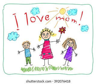 The Mother's Day. Kids Drawing