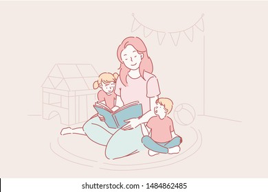 Mothers day, kindergarten, motherhood vector. A young mother reads fairy tales to her son and daughter, children learn letters together with a nanny, a teacher from kindergarten teaches children.