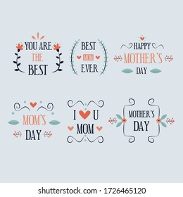 mothers day label collection_7 flat design