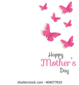 Mother's Day. Lettering and red butterflies. Typographical Background. Mothers day postcard.