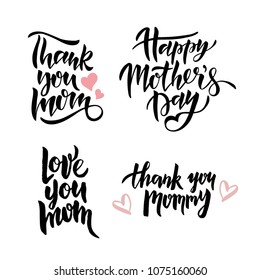 Mother's Day lettering set. Mother's day card with hearts. Vector illustration. Isolated on white background.