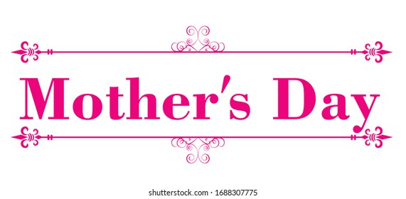 Mother's Day logo with classical decorative lines.red color