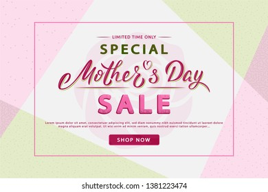 Mother's Day modern sale banner with lettering text. Trendy geometric background layout. For banners, flyers, invitation, posters, brochure, voucher discount. Vector illustration template