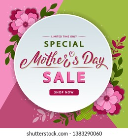 Mother's Day modern sale banner with lettering text and flowers. Trendy floral background layout. For banners, flyers, invitation, posters, brochure, voucher discount. Vector illustration template