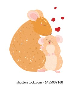 Mothers day. Mom and baby. Rat and little rat. Mouse and mouse.
