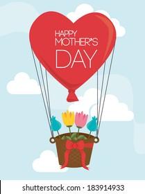 Mothers day over sky landscape background, vector illustration