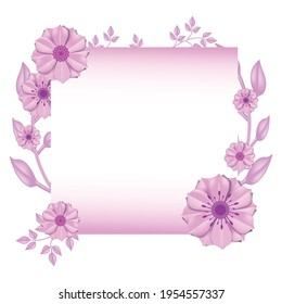 Mothers day pink circular floral border with green leaves made with paper