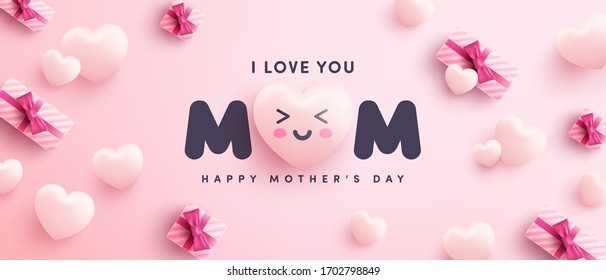 Mother's Day Poster or banner with sweet hearts and gift box on pink background.Promotion and shopping template or background for Love and Mother's day concept.Vector illustration eps 10