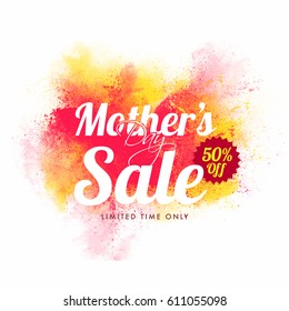 Mother's Day Sale with 50% off for limited time. Abstract background with multicolor powder explosion. Can be used as poster, banner or flyer design.