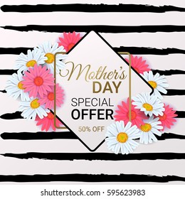 Mother's Day Sale background with beautiful colorful flower. Vector template for wallpaper, flyers, invitation, posters, brochure, discount voucher, banner.