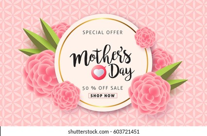 Mothers day sale background layout with beautiful colorful flower for banners,Wallpaper,flyers, invitation, posters, brochure, voucher discount.Vector illustration template.