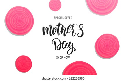 Mothers Day sale background layout. Banner with calligraphy lettering and rose flowers.