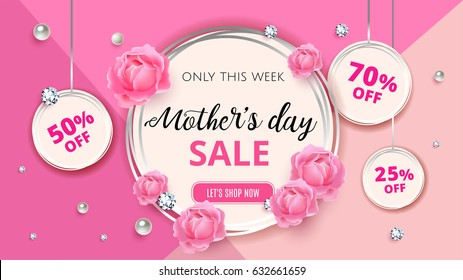 Mother's day sale background template with flowers, roses, diamond and pearl for promotion banner, ads, flyers, invitation, posters, brochure, discount, sale offers.  Vector illustration.  EPS 10