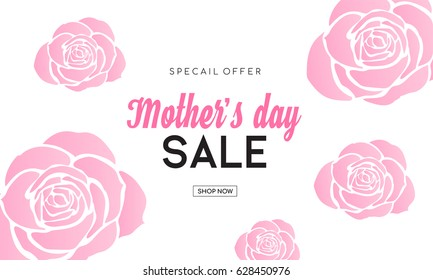 """Mother's day sale banner with beautiful pink roses shape, Mother's day sale vector illustration. (Sorry for misspelling """" Special """")"""