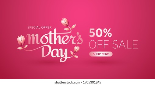 Mother's day sale banner design template. Mother's day sale special offer