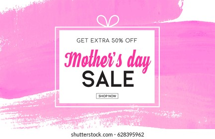 Mother's day sale banner with pink watercolor brush stroke background, Mother's day sale vector illustration.