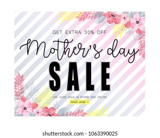 Mothers day sale banner template for social media advertising.