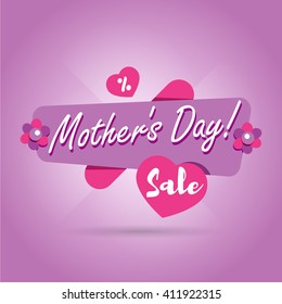 Mothers Day sale banner. Vector flower illustration