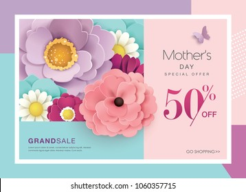 Mother's day sale design with beautiful blossom flowers