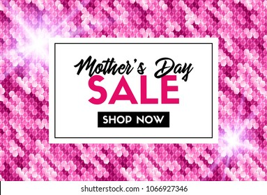 Mother's day sale. Promotion vector template with sparkles