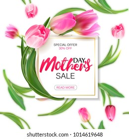 Mother's day sale shopping special offer holiday banner vector illustration. White plate with pink tulips on seamless tulips backdrop