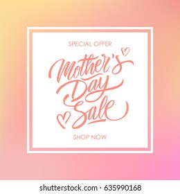 Mother's Day Sale special offer card for business, promotion and advertising. Calligraphic lettering text design on blurred background. Vector illustration.