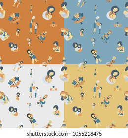 Mothers Day Seamless Pattern. Four Background in Different Colors. Vector. Clean Work Minimum Points