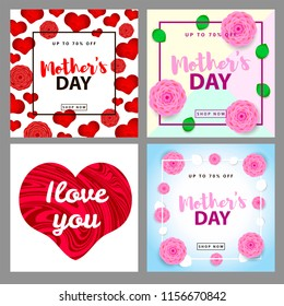 Mother's day. Set of the colorful backgrounds. Vector illustration.