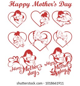 Mother's Day set. Happy Mother's day Lettering. Silhouette of a mother and her child. Mother's day greeting card. Maternal love for Her Baby.