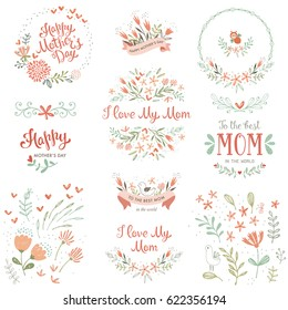 Mother's Day set with typographic design elements. Hand drawn flowers, plants, branches, wreaths and frames, floral bouquets and compositions, decorative birds and banners. Vector illustration.