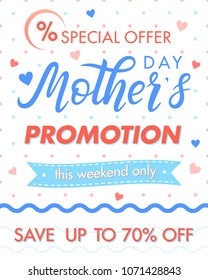 Mothers Day special offer.Mothers Day sale banner perfect for prints,flyers,cards,promos,advertising and more.Vector promotion card.