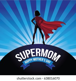 Mothers Day supermom design with burst and ribbon. EPS 10 vector.